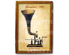 Antique Gramophone 1888 By Emile Berliner Invention by OldiesPixel, $3.25