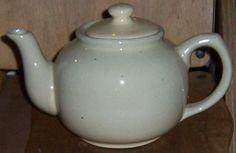 Vintage Cream Colored Pottery Tea Pot