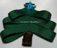 Christmas tree with blue star topper hair clip