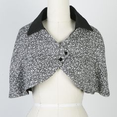 SALE  Small Medium Black and White Silk Capelet by Sumie Tachibana