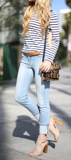 Striped Top // Joe's Jeans// Rag & Bone Belt // Vince Shoes