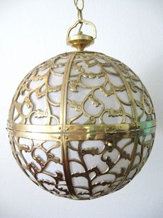 Vintage HOLLYWOOD REGENCY Pierced BRASS Hanging Lamp