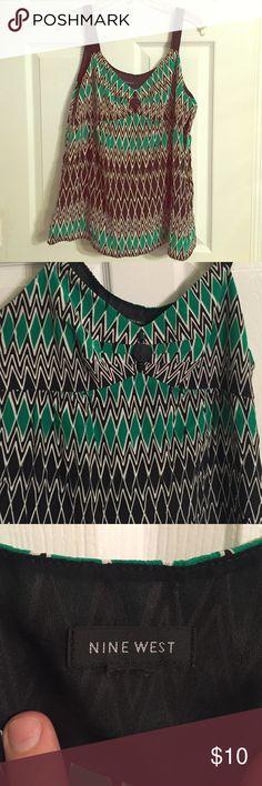Dressy Top Nine West green and Black Top/ side zipper enclosure Nine West Tops Blouses