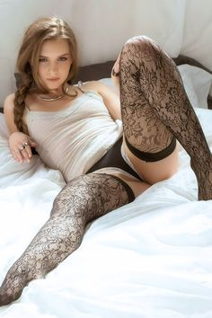 Beautiful nylon black stockings
