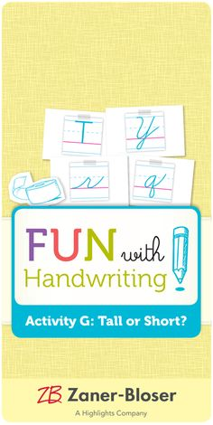 Create an interactive, hands-on activity for classifying letters as tall or short. Handwriting Activities, Hands On Activities, Zaner Bloser Handwriting, Bullet Journal, Letters, Create, Fun, Writing Activities, Letter