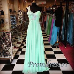 Pretty Mint one shoulder prom dress,beaded junior prom dress, 2016 handmade long evening dress for teens www.promdress01.c... #coniefox #2016prom
