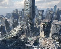 Ice and Other Stories: Sinking City by Mitchell Stuart Apocalypse World, Apocalypse Art, Post Apocalyptic City, Apocalypse Aesthetic, Sunken City, Science Fiction, Ruined City, Gato Anime, Underwater City