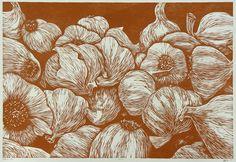 """Garlic Bin"" woodcut by Mike Gilligan.                              …"