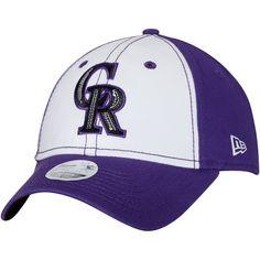d49dab061a9 Women s Colorado Rockies New Era White Purple Team Glimmer 9TWENTY  Adjustable Hat