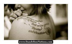Little Girl Blowing A Dandelion Tattoo 11 - http://dandeliontattoos.com/little-girl-blowing-a-dandelion-tattoo-11/