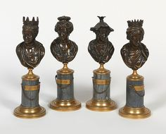 Ecole française d 'époque Louis XVI, vers 1775-1780 Les Quatre Continents Suite de quatre bustes en bronze à patine brune portant des coiffures distinctives, sur un piédouche en bronze. Sur leur socle… - Massol - 06/07/2016