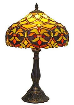 Amora Lighting AM008TL12 Tiffany Style Floral Design 19-Inch Table Lamp, Multi…