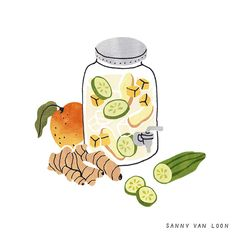 Fruit water recipe for Margriet magazine by Sanny van Loon • Illustration