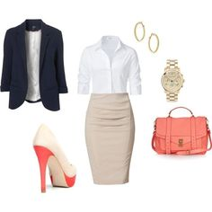 Fun colors are appropriate for the office, but in moderation. Navy blazer, khaki pencil skirt, white button down shirt, salmon bag and heels #professional