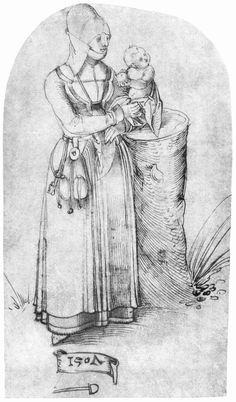 Artist: Schäufelein, Hans Leonhard, Title: Frau mit Kind, Date: 1507:  front panel pleating