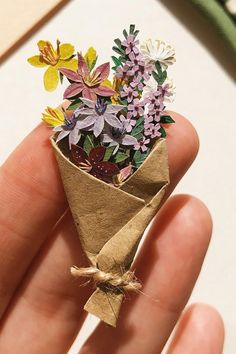 Carry a Bouquet on Your Finger Thanks to These Tiny Paper Flowers Cut Paper, Paper Cutting, Sun Soaked, Paper Crafts, Diy Crafts, Brown Paper, Life Is Beautiful, Paper Flowers, Sculptures