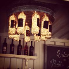 Custom wine  bottle lights at Malibu Wines!