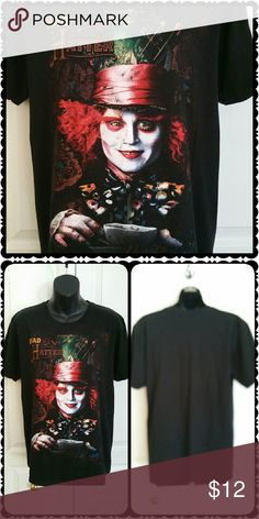 """Johnny Depp """"Mad as a Hatter"""" tee!   Size MED Disney's Alice in Wonderland t-shirt  * Mad as a Hatter design with Johnny Depp  * Size MED  (38"""" chest, 18"""" across shoulders) * 100% cotton  * Excellent condition, pre-loved * Bundle to save * Non-smoking home of Aurora33180 Tops Tees - Short Sleeve"""