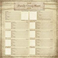 Genealogy Templates Family Group Chart
