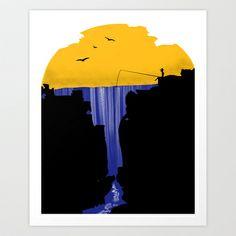 Waterfall Art Print by Kreska - $18.00