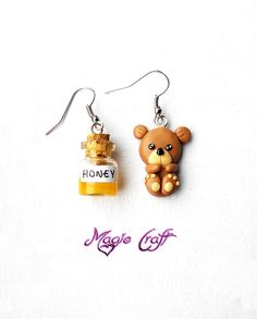 Teddy bear and honey earrings in polymer clay by MagieCraft