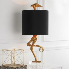 New Ibis Ostrich Sculpture Table Lamp Z-Gallerie, Gold and Black Heron Crane Bird Light, Living Room, Dining Room Buffet, Office Desk or Bedroom Nightstand Light -Contemporary, Modern, Traditional, Transitional, Bedroom, Living Room, Home Office, Study / Library, Entry Hallway, Accent Light, Lucite, Horchow, Neiman Marcus, Restoration Hardware, Pottery Barn, Ralph Lauren Home, Decorative Lighting, Architectural Digest, Shade Included