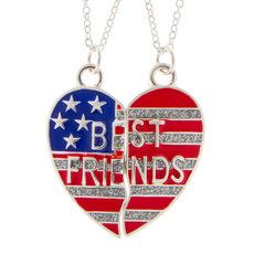 Best Friends American Flag Necklace Set: Perfect for a 4th of July gift <3