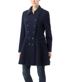 Another great find on #zulily! Navy Aurie Wool-Blend Military Coat #zulilyfinds