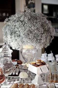 Great centrepiece - anytime of year.  Spray paint babies breath silver. - interesting, never thought of that... not sure how I feel about it.  Could be nice for large areas of color?