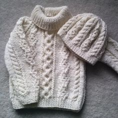 Handknit Aran sweater and hat for toddler, pure wool