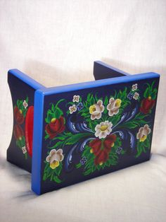 Love these vibrant colors!  Norwegian Rosemaling blue stool