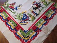 Deadstock Printed Tablecloth Vintage 1950s Mexico Primary Colors 54 x 54