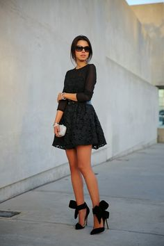 "VIVALUXURY - FASHION BLOG BY ANNABELLE FLEUR: HOLIDAY LUXE - LITTLE BLACK LACE Kendra Scott long pave feather earrings in rock crystal { also love this style } | Keepsake The Label dress { similar option here & here } | Tasha Crystal Swirl clutch | BCBG belt { also love this one } | Aminah Abdul Jilil bow pump | Vogue sunglasses | Clinique nail polish in ""Happy"" December 11, 2013"