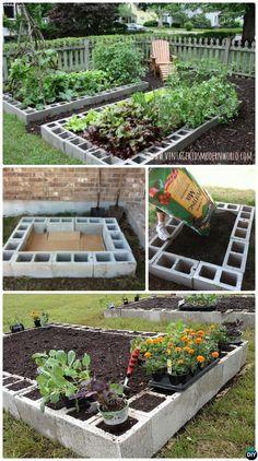 #DIY Cinder Block Raised Garden Bed-20 DIY Raised Garden Bed Ideas Instructions. #Gardening