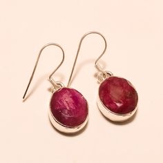 Natural African Ruby Sterling Silver Earring Cocktail Jewelry Thankgiving Gifts #Handmade #Retro #Thankgiving