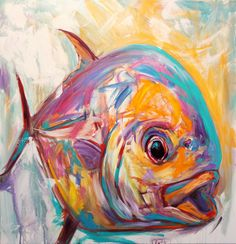 Permit Fish Fly Fishing Fine art Painting by Renowned Contemporary Sporting Marine artist Savlen.