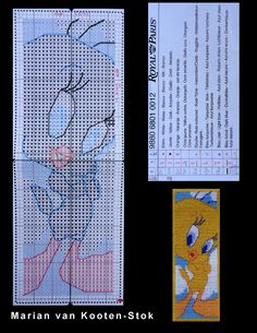 This is a pattern of the bookmark Tweety of Royal Paris that is no longer for sale. Beaded Bookmarks, Cross Stitch Bookmarks, Counted Cross Stitch Patterns, Cross Stitch Embroidery, Cross Stitch Boards, Just Cross Stitch, Disney Bookmarks, Stitch Character, Stitch Cartoon