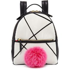 Les Petits Joueurs Mick Mini Fur-Pom Bunny Backpack ($1,170) ❤ liked on Polyvore featuring bags, backpacks, pom pom bag, zip top bag, fur backpack, miniature backpack and fur bag