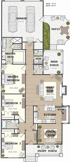 Narrow Lot Bungalow House Plans Inspirational Long Narrow House with Possible Open Floor Plan