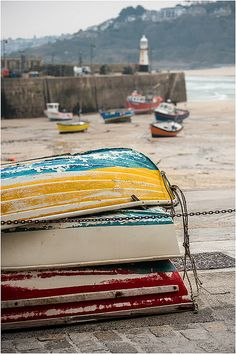 Colorful skiffs on the beach in St Ives, Cornwall. St Ives Cornwall, West Cornwall, Devon And Cornwall, Cornwall England, Yorkshire England, Yorkshire Dales, British Seaside, British Isles, British Summer