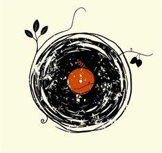 Enchanting Vinyl Record - Grunge Vintage Art T-shirt design