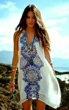 white printed flowy dress, perfect for spring and summers,