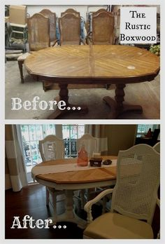 Vintage Furniture vintage dining table and cane chairs transformation, painted furniture - Hey friends! Today, I'd like to share with you all about our thrifted dining table and chairs makeover! I refinished this set from Goodwill a few years back, b… Antique Dining Tables, Dining Table Chairs, Dining Room Furniture, Rustic Furniture, Painted Furniture, Room Chairs, Furniture Vintage, Lounge Chairs, Diy Furniture