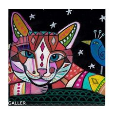 Blue Bird and Ginger Cat Folk art Tile Ceramic Coaster Mexican Folk Art Print of…