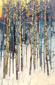 """Snow Patterns Off Bachelor Road - Steven Quiller, acrylic 36"""" X 24"""""""