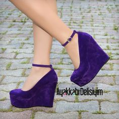 Purple Shoes, Fashion #mor #dolgu #topuk