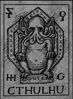 Cult of Cthulu. Runes in the border. Also, this version of Cthulu looks like Dr. Hp Lovecraft, Lovecraft Cthulhu, Kraken, Cthulhu Mythos, Cthulhu Tattoo, Yog Sothoth, Lovecraftian Horror, Call Of Cthulhu, Cryptozoology