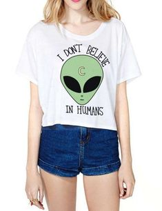 Women's Clubwear T-shirt I Don't Believe In Humans Printing Crop Tops