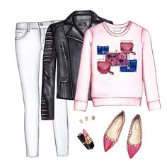 Fashion sweatshirt outfit. Graphic sweatshirt, white jeans, biker jacket, pink Valentino flats, gold rings and Chanel lipstick Chanel lipstick Giveaway