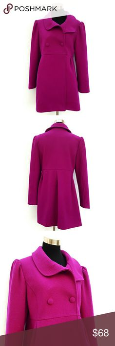 Old Navy Wool  Coat Coat features:  empire waist  button closure  side pleats front  two front pockets  back pleats ruffled shoulder  size L fully lined 100% Polyester  51% Wool 49% Polyester  Excellent pre owned condition Old Navy Jackets & Coats